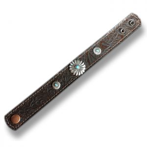 One inch leather cuff with round southwest conchos