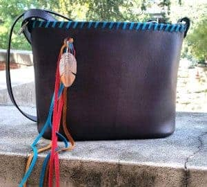 Brown Top Grain with Sterling Silver Feather Concealed Carry Purse
