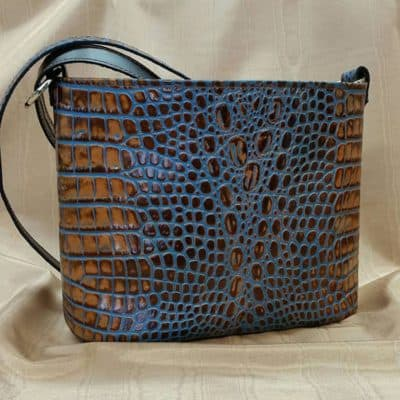 Blue Marine Embossed Croc Concealed Carry Purse