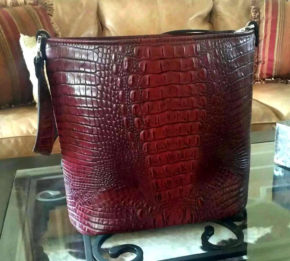 Merlot Red Croc Concealed Carry Purse Classic