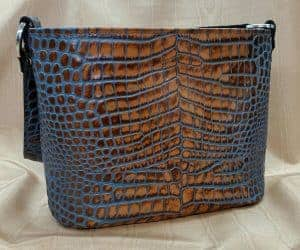 Tan Marine Embossed Croc Concealed Carry Purse