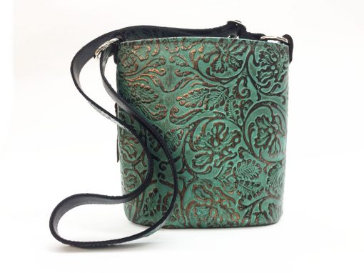teal and bronze embossed floral bucket concealed carry purse