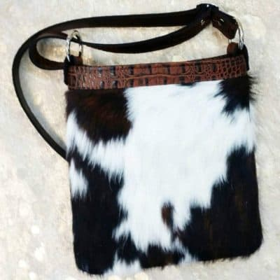 hair on hide with butternut trim crossbody