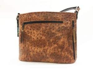 Cognac Rustic Ostrich Concealed Carry Purse