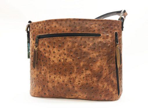 Cognac Rustic Ostrich Concealed Carry Purse