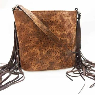 Cognac Rustic Ostrich with Fringe Concealed Carry Purse