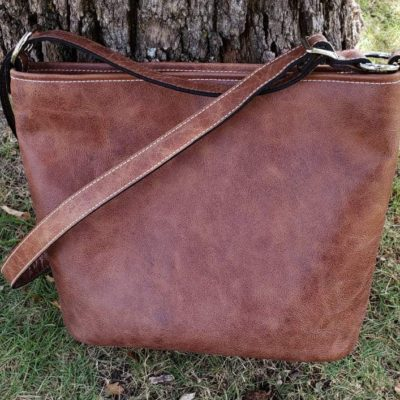 distressed saddle tan tote